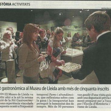 L'Escola d'Hoteleria de Lleida protagonista de les 7es Nits Gastronòmiques del Museu de Lleida