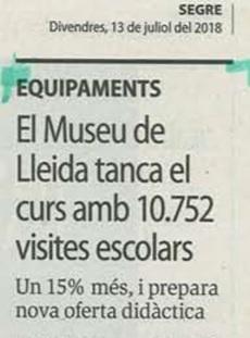 El Museu de Lleida va incrementar un 15% les seves visites escolars